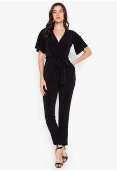 56cb60418a2 Twenteen black Short Sleeves V-Neck Overlap Jumpsuit 8F6BEAA6F5D26EGS 1