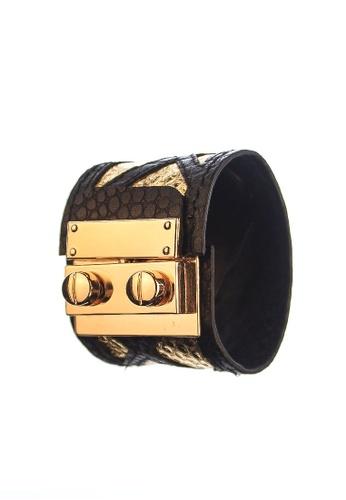 CSHEON black and gold SECRET CODE LABYRINTH X CUFF IN GOLD SNAKESKIN BRACELET 23940AC70A9B05GS_1