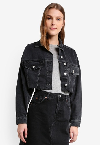 TOPSHOP black Moto Hacked Off Cropped Denim Jacket TO412AA0T0VOMY_1