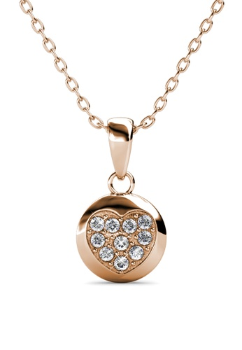 Her Jewellery gold Faith Heart Pendant (Rose Gold) - Embellished with Crystals from Swarovski® F6614AC9D6666EGS_1