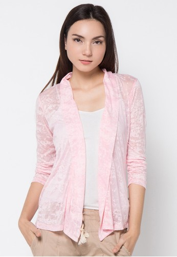 LOIS JEANS pink Burn Out Cardigan LO391AA85JYSID_1