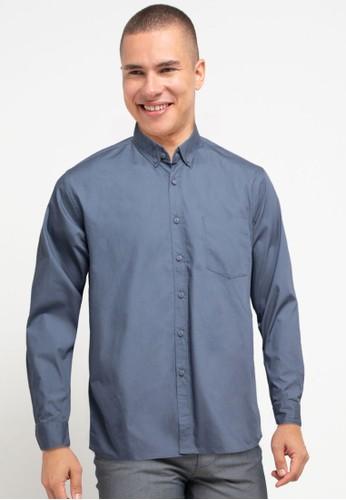 Tolliver X Salt n Pepper blue Buttoned Collar Long Sleeve Shirts BEA27AA0ADBB55GS_1