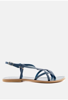0116b592b0a5ac Rag   CO. blue Strappy Flat Leather Sandals DAF8FSHABB7050GS 1