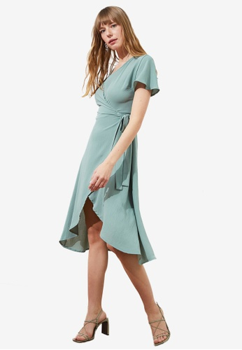 Trendyol green Wrap Over Midi Dress 1C416AA92913D8GS_1