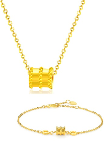 CELOVIS gold CELOVIS - Allotar Barrel Roll Ring Pendant Necklace + Bracelet Set (GOLD) EB3DCACC8E77E5GS_1