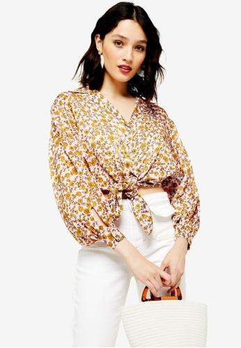 517d53de5e Buy TOPSHOP Floral Knot Front Shirt | ZALORA HK
