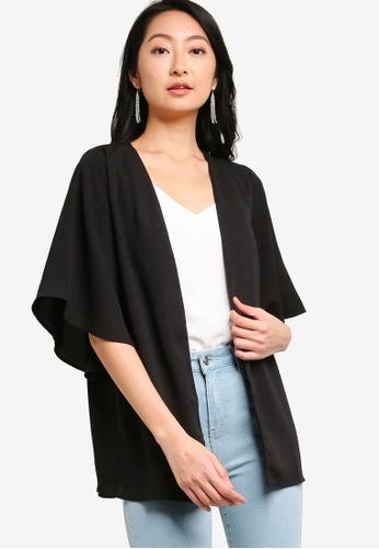 ZALORA BASICS black Wide Sleeves Kimono Cardigan AF90EAAB7851F8GS_1