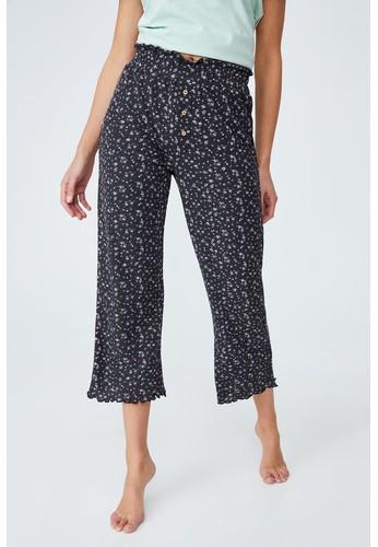 Cotton On Body black Waffle Wide Leg Crop Pant F5F9AAA7610234GS_1