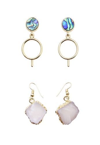 LUCCACAL multi and gold 2 x Abalone Shell and Stone Earrings Set 3F40BACDFA589AGS_1