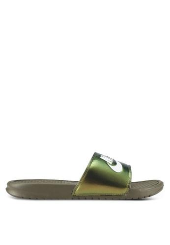 Nike green Nike Benassi Just Do It Print Men's Slide Sandals NI126SH0SFAKMY_1