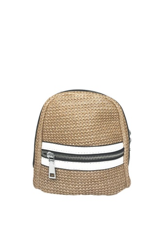 LIVLOLA white and silver and brown Carly Summer Backpack LI657AC0S6IAMY_1