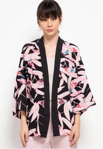 Chic Simple black Printed Kimono F66DEAA0408369GS_1