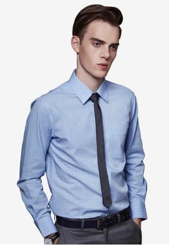 尊爵esprit outlet 家樂福工藝。立體版型。紗織線格商務襯衫-MIT-11029-藍色, 服飾, 商務襯衫