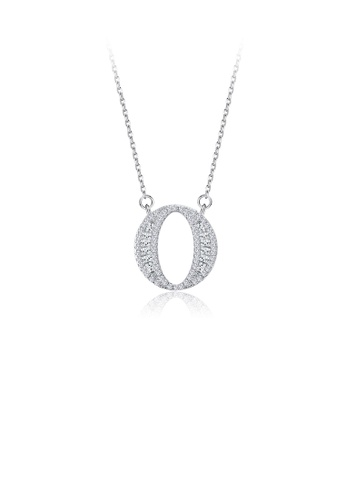 Glamorousky white 925 Sterling Silver Fashion Personality English Alphabet O Cubic Zircon Necklace A92DAAC800ABE1GS_1