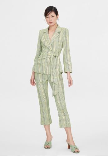Pomelo green Plaid Side Tie Blazer - Green F8ECEAA35E5DEEGS_1