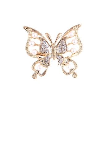 Glamorousky white Fashion and Elegant Plated Gold Butterfly Imitation Pearl Brooch with Cubic Zirconia 62056AC6C7118FGS_1