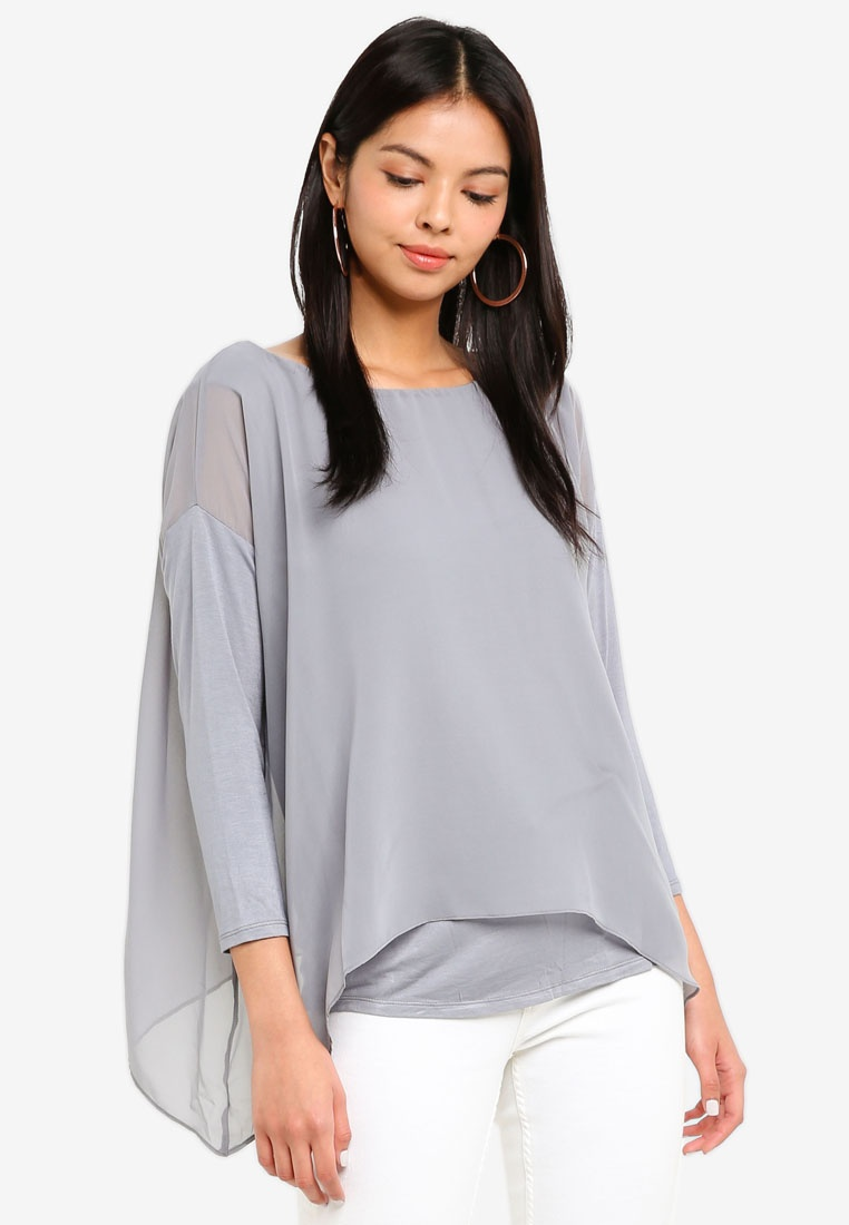 Grey Chiffon Wallis Top Grey Layered UxqBvZ7