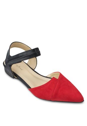 zalora 台灣門市色塊側空繞踝平底鞋, 女鞋, 鞋