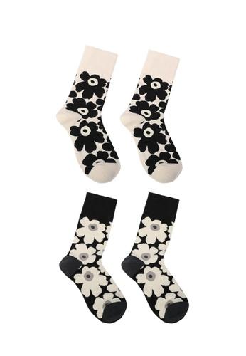 Milliot & Co. 黑色 and 白色 Daisy 襪子 76A9FAA996E631GS_1