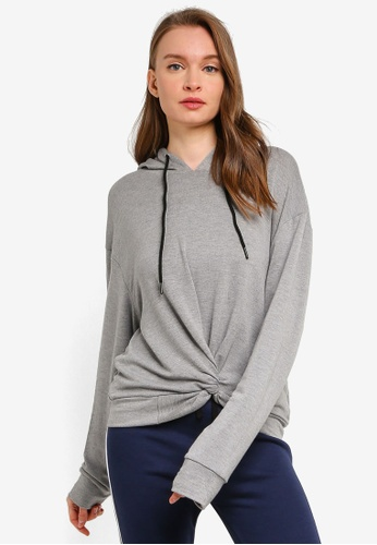 UniqTee grey Front Knot Sweatshirt with Hoodie 3AC29AA609F828GS_1