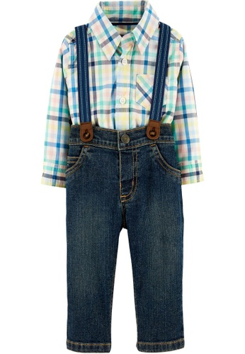 Carter's multi CARTER'S Boy Denim Herringbone Bodysuit & Cargo Suspender Pants 0E4EFKA623F06AGS_1