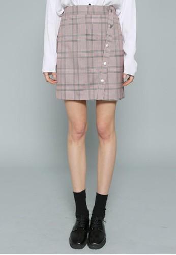 格子圖案迷你短裙,esprit專櫃 服飾, 裙子