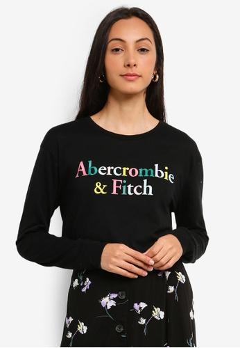 342354021912 Abercrombie & Fitch black Long Sleeve Rainbow Logo T-Shirt  806C3AA9A4EF77GS_1