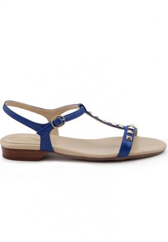 Shu Talk 藍色 高貴羊軟皮窩釘低跟涼鞋 SH544SH099SRTW_1
