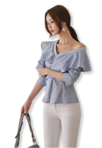 Sunnydaysweety blue Striped Lotus Leaf Collar Top UA091915 SU219AA0FUYBSG_1
