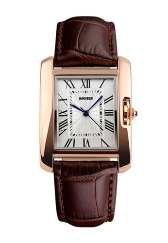 Skmei brown SKMEI 1085 Ladies's Classic Rectangle Dial Leather Watch (Gold Brown) SK707AC0RX1SMY_1