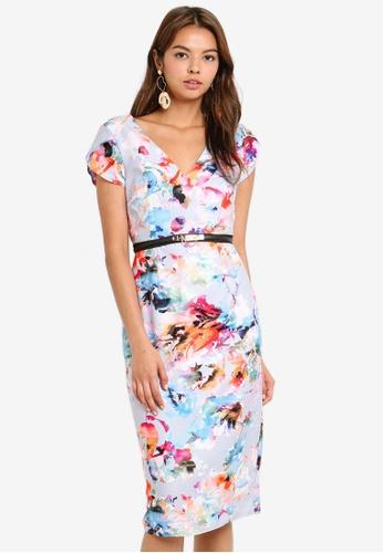 Little Mistress grey Blur Print Bodycon Dress 28FB5AA0E71A02GS_1