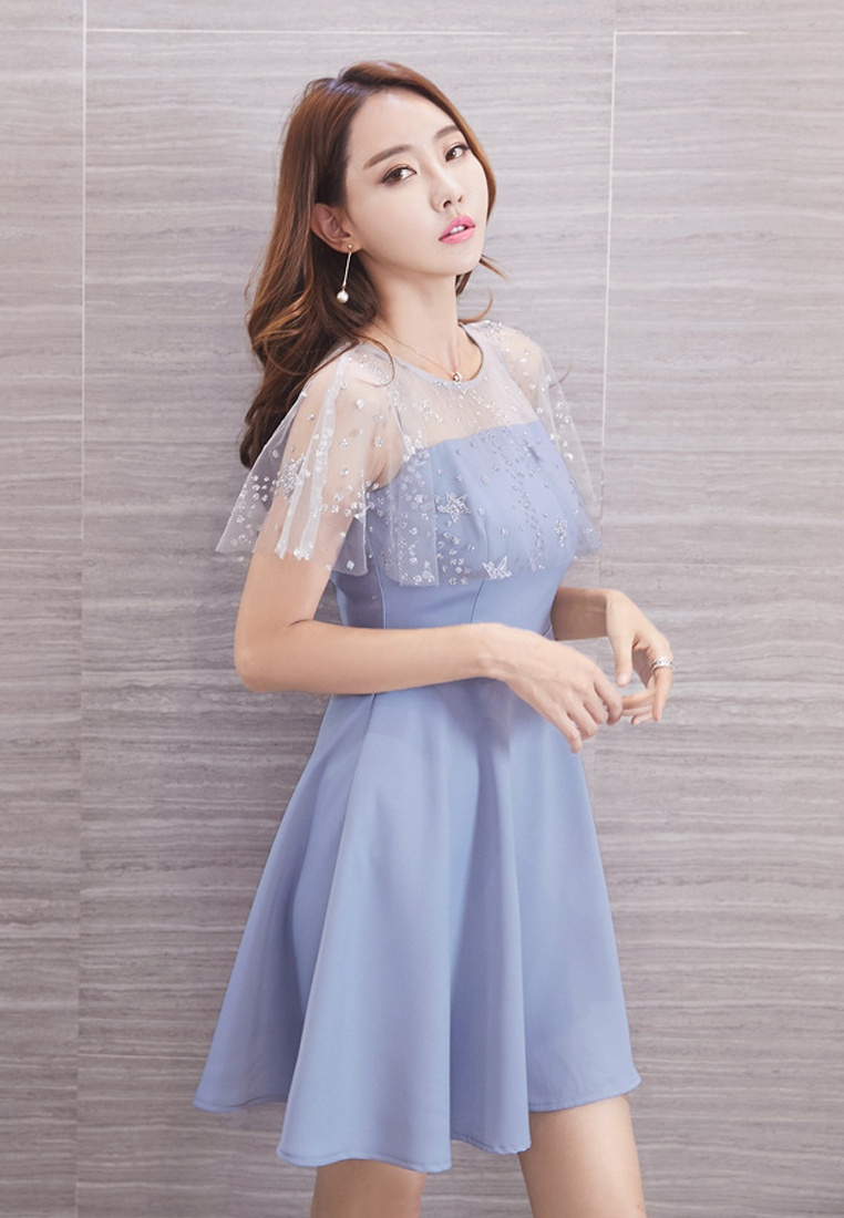 Sunnydaysweety Blue 2017 Dress New Shoulder A071111 Blue Through See x005awn4q