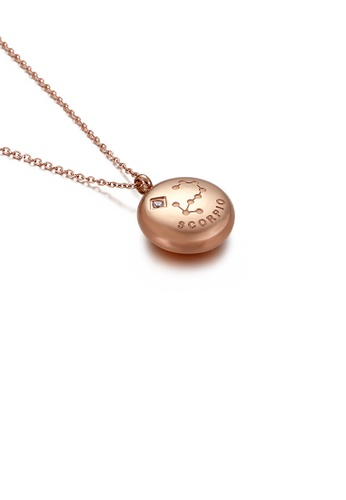 Glamorousky white Fashion and Simple Plated Rose Gold Twelve Constellation Scorpio Round 316L Stainless Steel Pendant with Cubic Zirconia and Necklace BDC21ACA820861GS_1