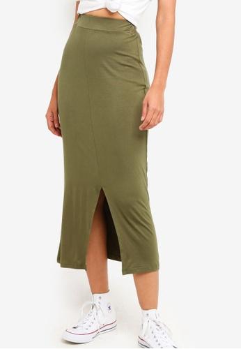 ZALORA BASICS green Basic Jersey Midi Skirt With Front Slit D84E3AA9245D66GS_1