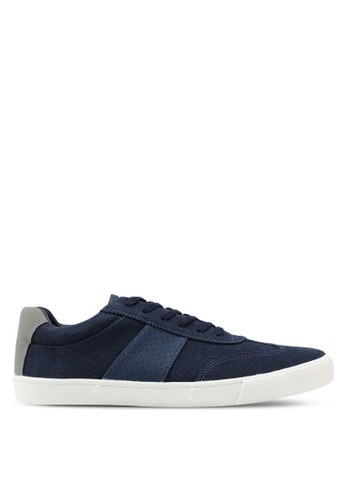 Topman navy Navy Faux Suede Retro Trainers 268B9SHCE71C93GS_1
