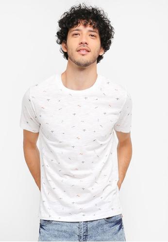 MANGO Man white Printed Cotton T-Shirt MA449AA0T1E9MY_1