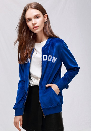 London Rag blue Blue Velvet Zipper Jacket DDC6AAA01D164FGS_1