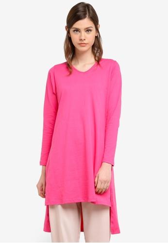 Aqeela Muslimah Wear pink Side Slit Fishtail Top AQ371AA0S4WHMY_1