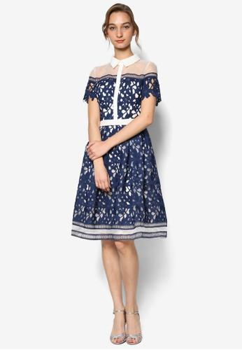 Dana 鉤針花薄紗拼接短袖連身裙, 服zalora 順豐飾, 洋裝