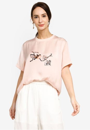 Hopeshow pink Graphic Print Short Sleeve T-Shirt 17BF0AA32D7681GS_1