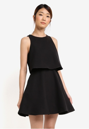 Something Borrowed black Double Layer Fit & Flare Dress 8BB96AA84B920AGS_1