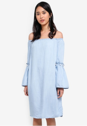 ONLY blue Vilde Off Shoulder Dress D67F6AAA00E547GS_1