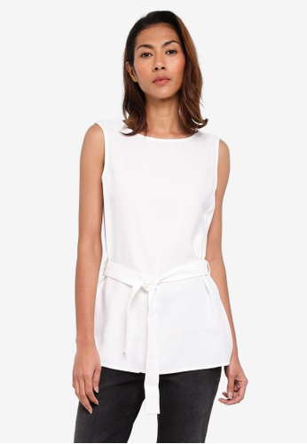 ESPRIT white Woven Sleeveless Blouse FB53AAA80A8CD3GS_1