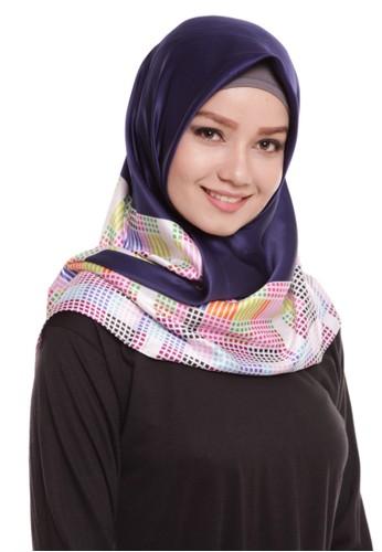 Mybamus Pixel Square Hijab Satin Navy