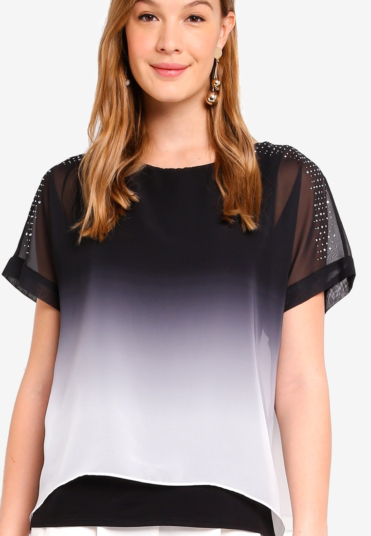 Layered Monochrome Black Wallis Ombre White Top 7PETw