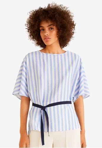 MANGO blue Striped Bow Blouse 93198AA41B486EGS_1