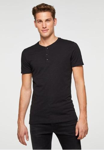Sisley black Henley T-shirt 34E0FAA10750FDGS_1