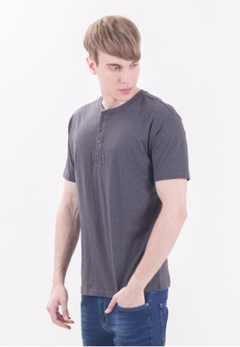 Drum Basic Plain Tee With 4 Button -HGY DR425AA80RIXMY_1