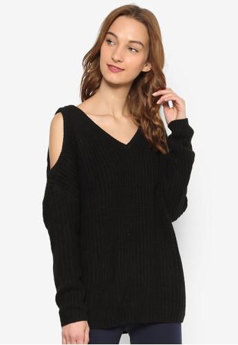 Lara 針織V領挖肩長袖衫, esprit官網服飾, 上衣