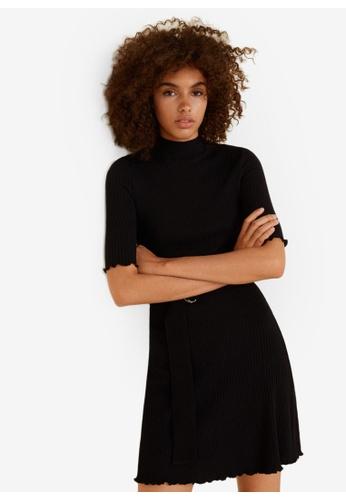 Mango black Belt Ribbed Dress 8596EAA8574377GS_1